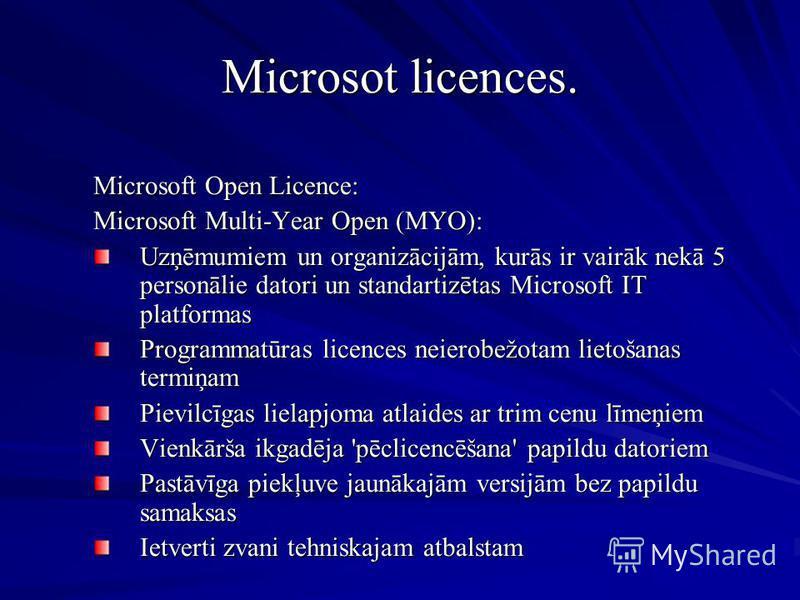 Microsot licences. Microsoft Open Licence: Microsoft Multi-Year Open (MYO): Uzņēmumiem un organizācijām, kurās ir vairāk nekā 5 personālie datori un standartizētas Microsoft IT platformas Programmatūras licences neierobežotam lietošanas termiņam Piev
