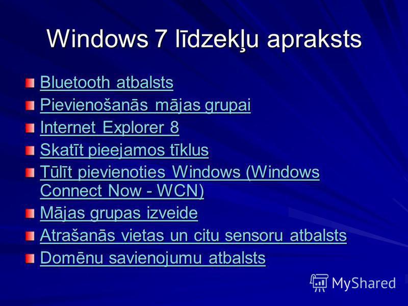 Windows 7 līdzekļu apraksts Bluetooth atbalsts Bluetooth atbalsts Pievienošanās mājas grupai Pievienošanās mājas grupai Internet Explorer 8 Internet Explorer 8 Skatīt pieejamos tīklus Skatīt pieejamos tīklus Tūlīt pievienoties Windows (Windows Connec