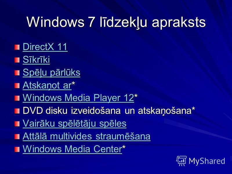Windows 7 līdzekļu apraksts DirectX 11 DirectX 11 Sīkrīki Spēļu pārlūks Spēļu pārlūks Atskaņot arAtskaņot ar* Atskaņot ar Windows Media Player 12Windows Media Player 12* Windows Media Player 12 DVD disku izveidošana un atskaņošana* Vairāku spēlētāju
