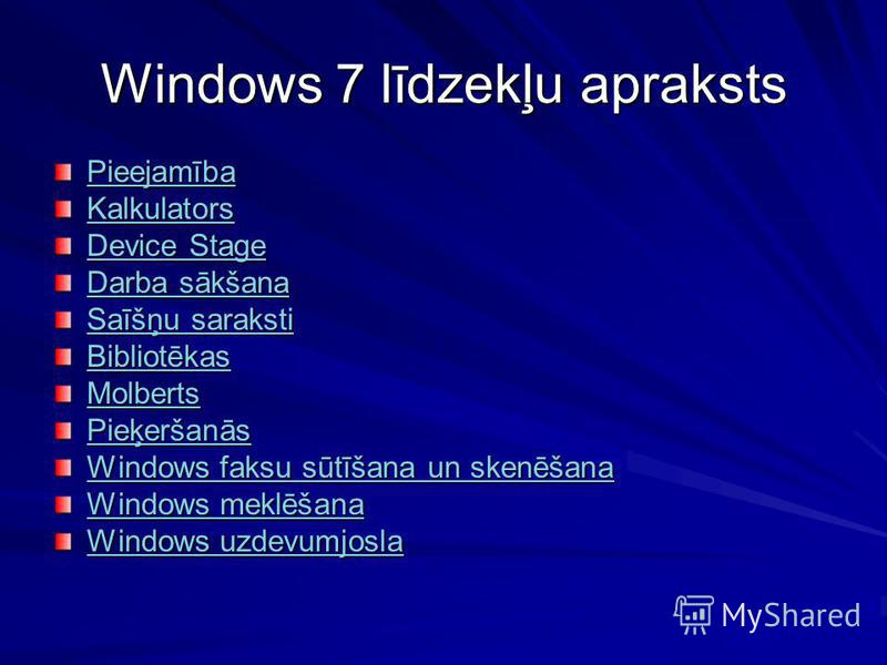 Windows 7 līdzekļu apraksts Pieejamība Kalkulators Device Stage Device Stage Darba sākšana Darba sākšana Saīšņu saraksti Saīšņu saraksti Bibliotēkas Molberts Pieķeršanās Windows faksu sūtīšana un skenēšana Windows faksu sūtīšana un skenēšana Windows