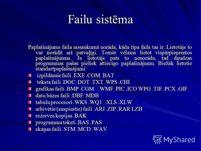 Failu sistēma Paplašinājums faila nosaukumā norāda, kāda tipa fails tas ir. Lietotājs to var norādīt arī patvaļīgi. Tomēr vēlams lietot vispārpieņemtos paplašinājumus. Ja lietotājs pats to nenorāda, tad daudzas programmas pašas pieliek attiecīgo papl
