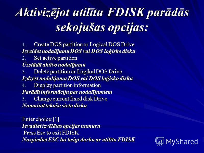 Aktivizējot utilītu FDISK parādās sekojušas opcijas: 1. Create DOS partition or Logical DOS Drive Izveidot nodalījumu DOS vai DOS loģisko disku 2. Set active partition Uzstādīt aktīvo nodalījumu 3. Delete partition or Logikal DOS Drive Izdzēst nodalī