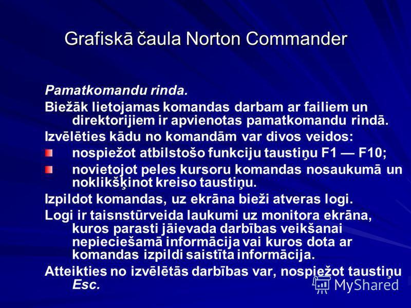 Grafiskā čaula Norton Commander Pamatkomandu rinda. Biežāk lietojamas komandas darbam ar failiem un direktorijiem ir apvienotas pamatkomandu rindā. Izvēlēties kādu no komandām var divos veidos: nospiežot atbilstošo funkciju taustiņu F1 F10; novietojo