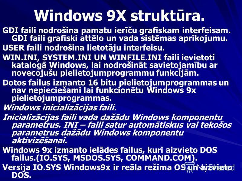 Windows 9X struktūra. GDI faili nodrošina pamatu ierīču grafiskam interfeisam. GDI faili grafiski attēlo un vada sistēmas aprīkojumu. USER faili nodrošina lietotāju interfeisu. WIN.INI, SYSTEM.INI UN WINFILE.INI faili ievietoti katalogā Windows, lai