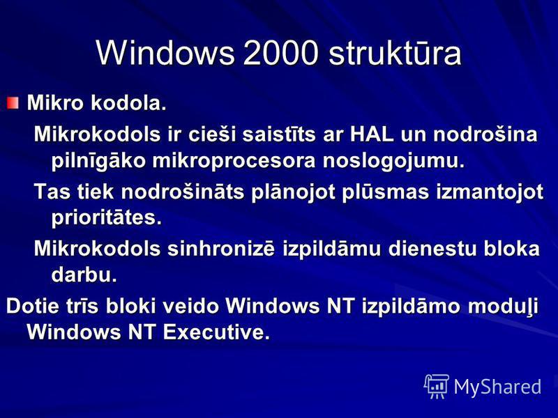 Windows 2000 struktūra Mikro kodola. Mikrokodols ir cieši saistīts ar HAL un nodrošina pilnīgāko mikroprocesora noslogojumu. Tas tiek nodrošināts plānojot plūsmas izmantojot prioritātes. Mikrokodols sinhronizē izpildāmu dienestu bloka darbu. Dotie tr