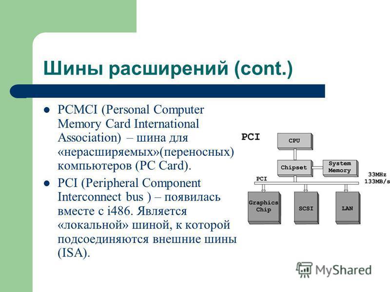 Шины расширений (cont.) PCMCI (Personal Computer Memory Card International Association) – шина для «нерасширяемых»(переносных) компьютеров (PC Card). PCI (Peripheral Component Interconnect bus ) – появилась вместе с i486. Является «локальной» шиной,