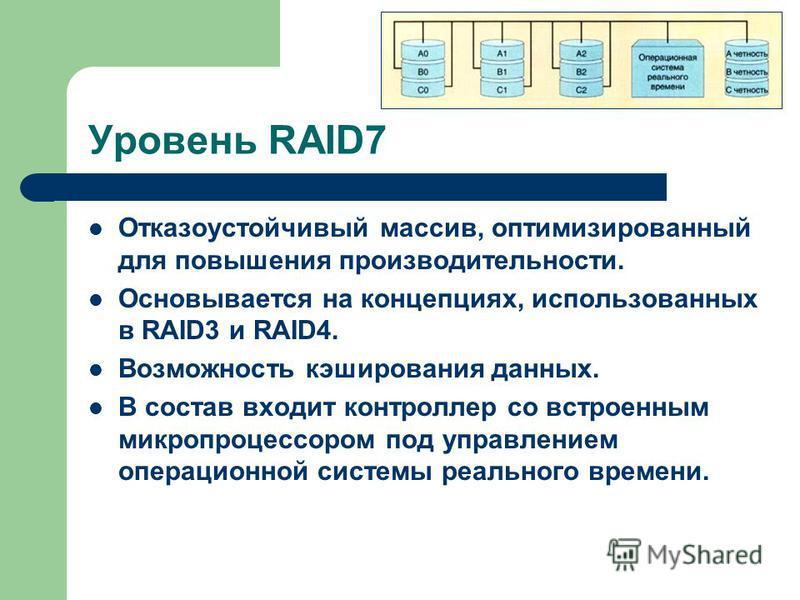 Уровень RAID7 Отказоустойчивый массив, оптимизированный для повышения производительности. Основывается на концепциях, использованных в RAID3 и RAID4. Возможность кэширования данных. В состав входит контроллер со встроенным микропроцессором под управл