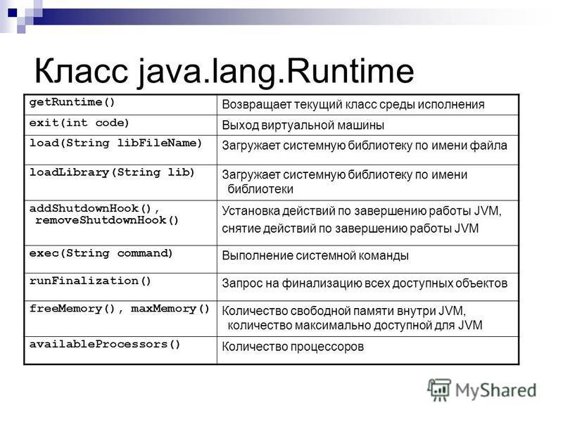 Класс java.lang.Runtime getRuntime() Возвращает текущий класс среды исполнения exit(int code) Выход виртуальной машины load(String libFileName) Загружает системную библиотеку по имени файла loadLibrary(String lib) Загружает системную библиотеку по им