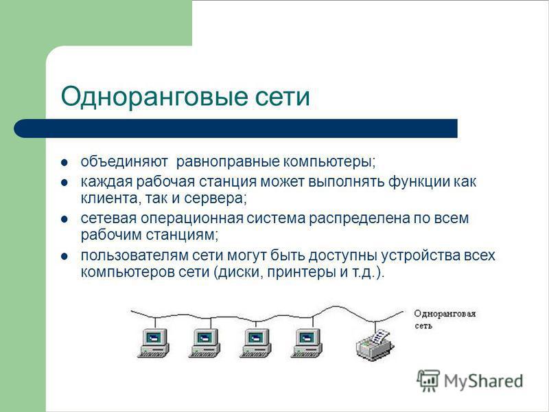 Одноранговые сети объединяют равноправные компьютеры; каждая рабочая станция может выполнять функции как клиента, так и сервера; сетевая операционная система распределена по всем рабочим станциям; пользователям сети могут быть доступны устройства все