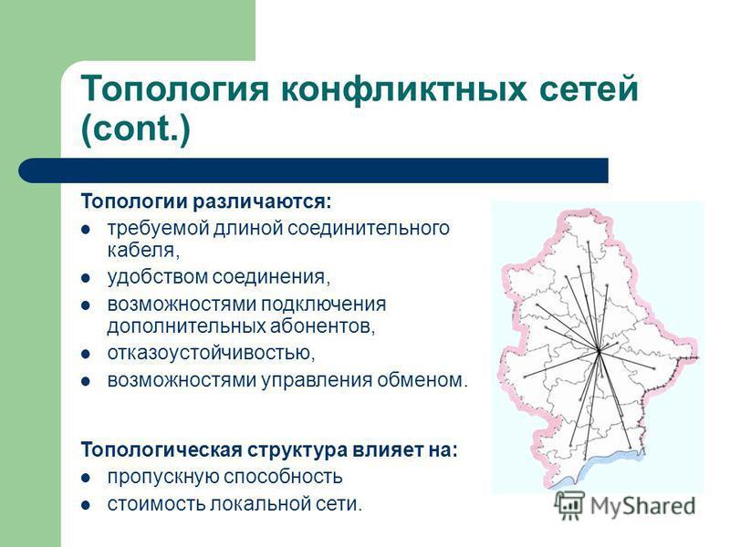 Топология конфликтных сетей (cont.) Топологии различаются: требуемой длиной соединительного кабеля, удобством соединения, возможностями подключения дополнительных абонентов, отказоустойчивостью, возможностями управления обменом. Топологическая структ