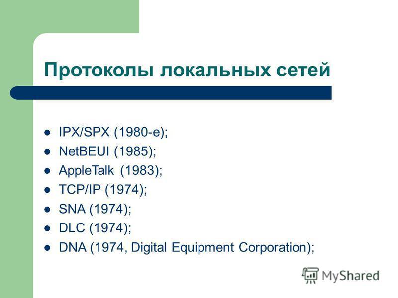 Протоколы локальных сетей IPX/SPX (1980-е); NetBEUI (1985); AppleTalk (1983); TCP/IP (1974); SNA (1974); DLC (1974); DNA (1974, Digital Equipment Corporation);