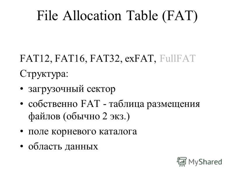 File Allocation Table (FAT) FAT12, FAT16, FAT32, exFAT, FullFAT Структура: загрузочный сектор собственно FAT - таблица размещения файлов (обычно 2 экз.) поле корневого каталога область данных