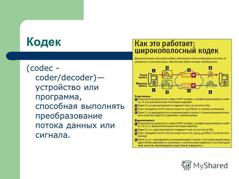 Кодек (codec - coder/decoder) устройство или программа, способная выполнять преобразование потока данных или сигнала.