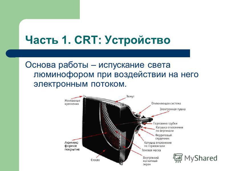 Часть 1. CRT: Устройство Основа работы – испускание света люминофором при воздействии на него электронным потоком.