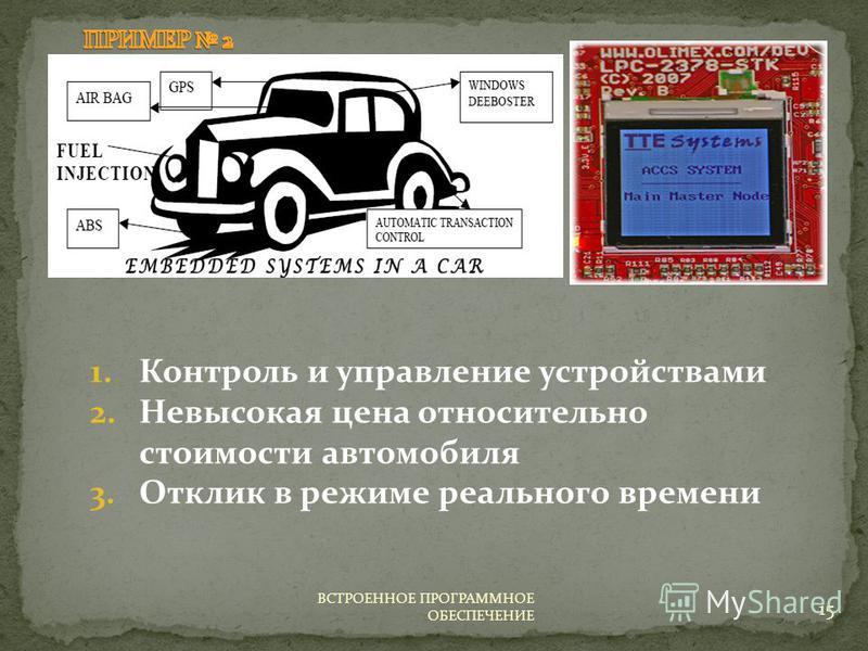 1. Контроль и управление устройствами 2. Невысокая цена относительно стоимости автомобиля 3. Отклик в режиме реального времени 15 ВСТРОЕННОЕ ПРОГРАММНОЕ ОБЕСПЕЧЕНИЕ