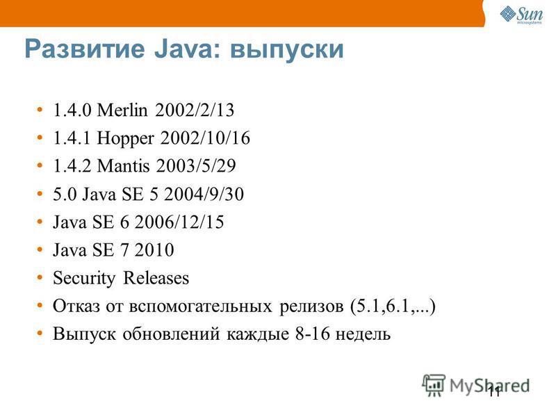 11 Развитие Java: выпуски 1.4.0 Merlin 2002/2/13 1.4.1 Hopper 2002/10/16 1.4.2 Mantis 2003/5/29 5.0 Java SE 5 2004/9/30 Java SE 6 2006/12/15 Java SE 7 2010 Security Releases Отказ от вспомогательных релизов (5.1,6.1,...) Выпуск обновлений каждые 8-16