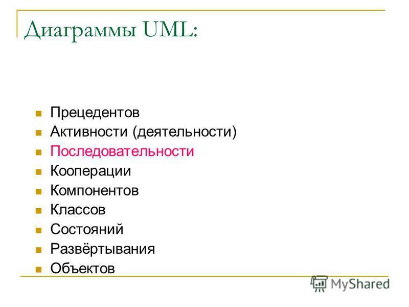 Диаграммы UML: Прецедентов Активности (деятельности) Последовательности Кооперации Компонентов Классов Состояний Развёртывания Объектов