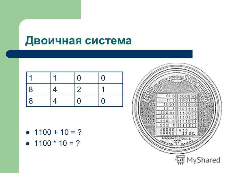Двоичная система 1100 + 10 = ? 1100 * 10 = ? 1100 8421 8400