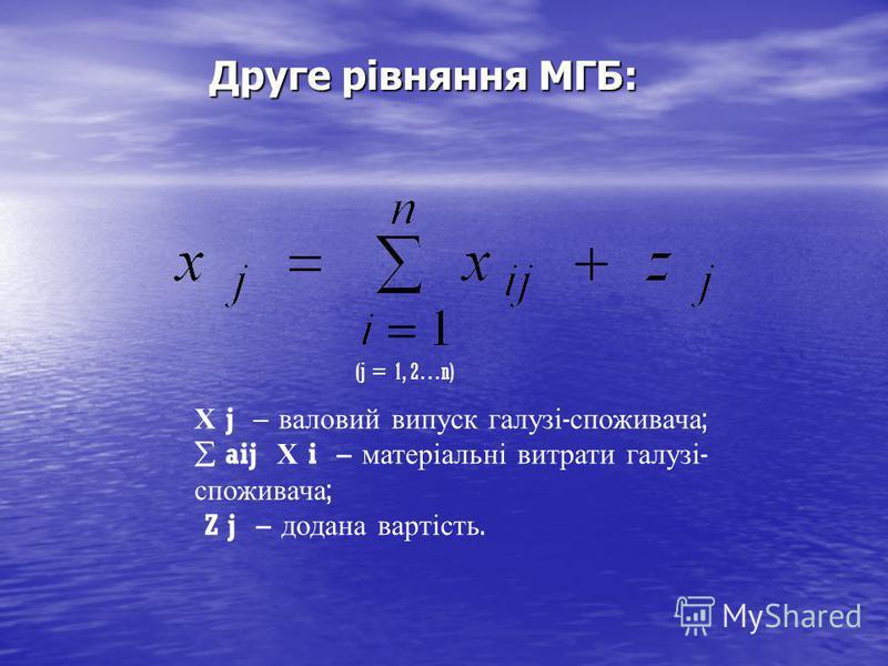 Друге рівняння МГБ: Х j – валовий випуск галузі - споживача ; aij Х i – матеріальні витрати галузі - споживача ; Z j – додана вартість. (j = 1, 2…n)