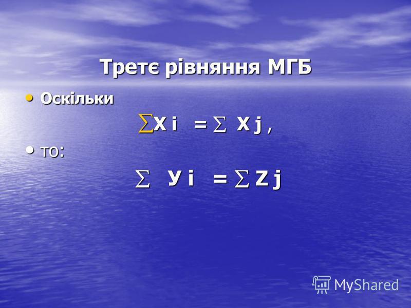 Третє рівняння МГБ Оскільки Оскільки Х i = Х j, Х i = Х j, то: то: У i = Z j У i = Z j