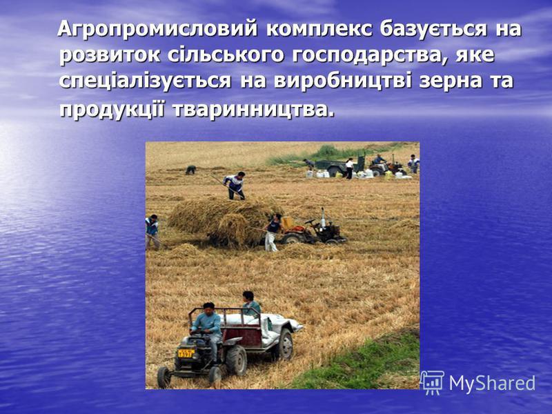 Агропромисловий комплекс базується на розвиток сільського господарства, яке спеціалізується на виробництві зерна та продукції тваринництва. Агропромисловий комплекс базується на розвиток сільського господарства, яке спеціалізується на виробництві зер