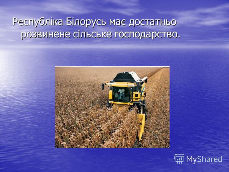 Республіка Білорусь має достатньо розвинене сільське господарство.