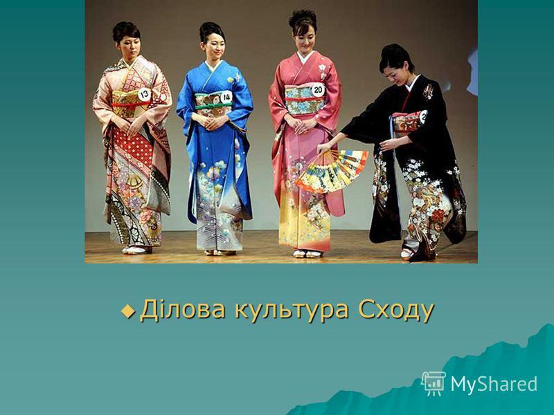 Ділова культура Сходу Ділова культура Сходу