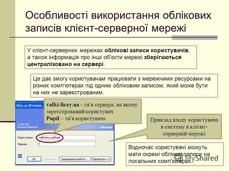 Особливості використання облікових записів клієнт-серверної мережі У клієнт-серверних мережах облікові записи користувачів, а також інформація про інші об'єкти мережі зберігаються централізовано на сервері. Це дає змогу користувачам працювати з мереж