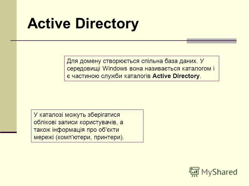 Active Directory У каталозі можуть зберігатися облікові записи користувачів, а також інформація про об'єкти мережі (комп'ютери, принтери). Для домену створюється спільна база даних. У середовищі Windows вона називається каталогом і є частиною служби