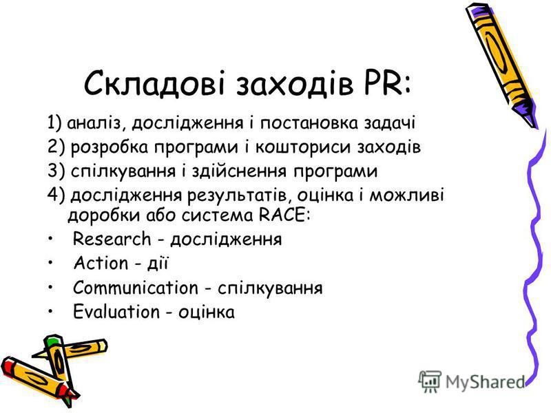 Складові заходів PR: 1) аналіз, дослідження і постановка задачі 2) розробка програми і кошториси заходів 3) спілкування і здійснення програми 4) дослідження результатів, оцінка і можливі доробки або система RACE: Research - дослідження Action - дії C
