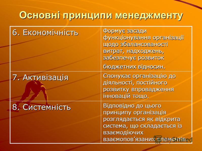 Основні принципи менеджменту 6. Економічність Формує засади функціонування організації щодо збалансованості витрат, надходжень, забезпечує розвиток бюджетних відносин. 7. Активізація Спонукає організацію до діяльності, постійного розвитку впровадженн