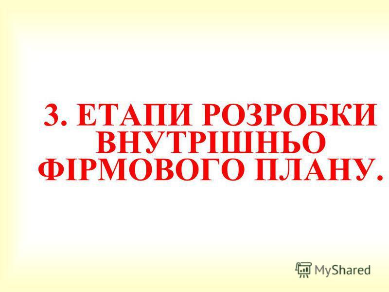 3. 3. ЕТАПИ РОЗРОБКИ ВНУТРІШНЬО ФІРМОВОГО ПЛАНУ.