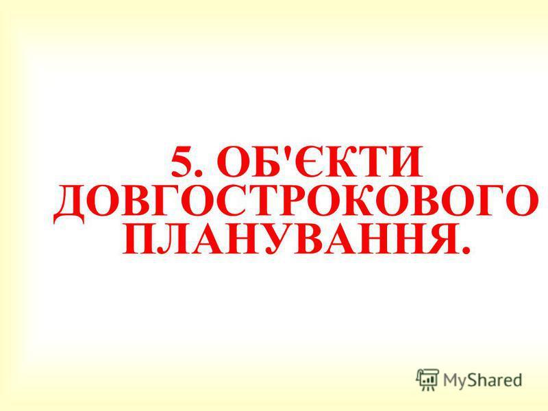 5. 5. ОБ'ЄКТИ ДОВГОСТРОКОВОГО ПЛАНУВАННЯ.