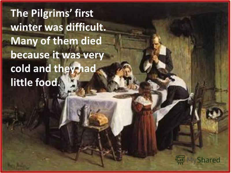 The Pilgrims first winter was difficult. Many of them died because it was very cold and they had little food.