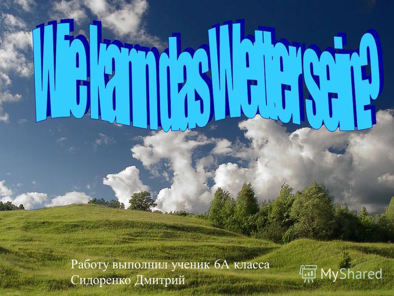 Работу выполнил ученик 6А класса Сидоренко Дмитрий