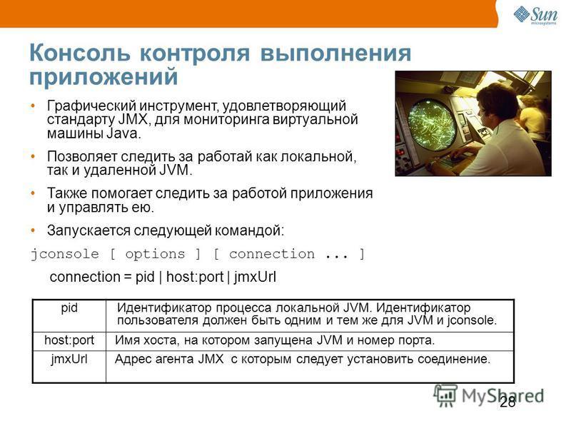 28 Консоль контроля выполнения приложений pid Идентификатор процесса локальной JVM. Идентификатор пользователя должен быть одним и тем же для JVM и jconsole. host:port Имя хоста, на котором запущена JVM и номер порта. jmxUrl Адрес агента JMX с которы