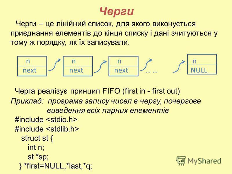 Черги Черги – це лінійний список, для якого виконується приєднання елементів до кінця списку і дані зчитуються у тому ж порядку, як їх записували. n n n n next next next … … NULL Черга реалізує принцип FIFO (first in - first out) Приклад: програма за