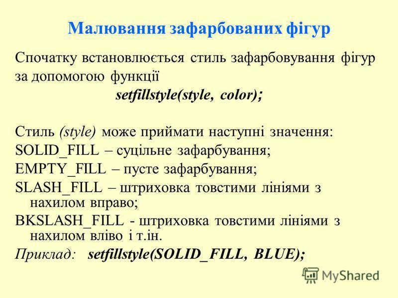 Малювання зафарбованих фігур Спочатку встановлюється стиль зафарбовування фігур за допомогою функції setfillstyle(style, color) ; Стиль (style) може приймати наступні значення: SOLID_FILL – суцільне зафарбування; EMPTY_FILL – пусте зафарбування; SLAS