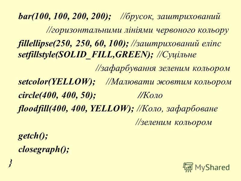 bar(100, 100, 200, 200); //брусок, заштрихований //горизонтальними лініями червоного кольору fillellipse(250, 250, 60, 100); //заштрихований еліпс setfillstyle(SOLID_FILL,GREEN); //Суцільне //зафарбування зеленим кольором setcolor(YELLOW); //Малювати