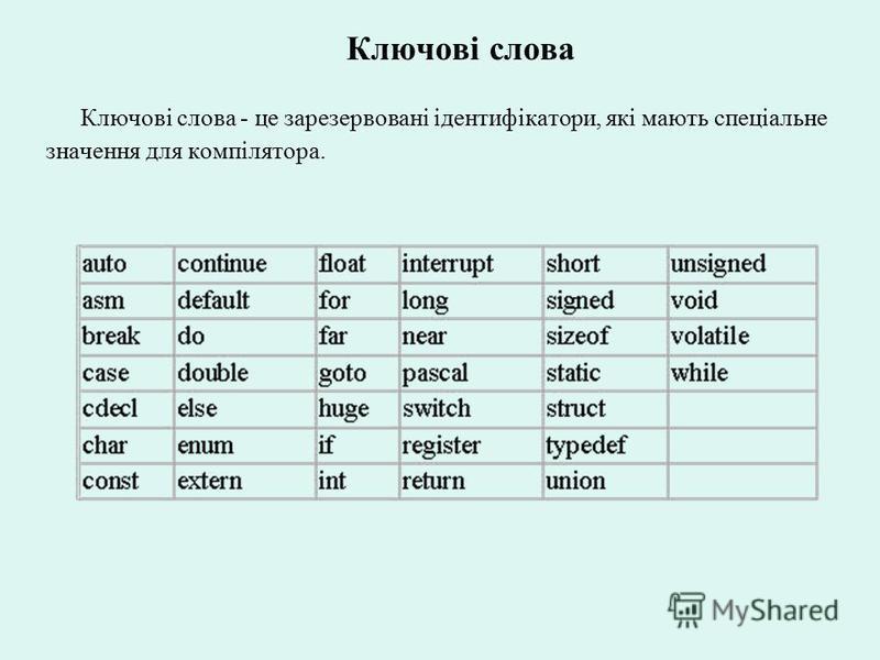 Ключові слова Ключові слова - це зарезервовані ідентифікатори, які мають спеціальне значення для компілятора.