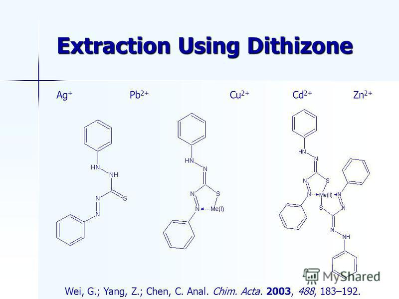 Extraction Using Dithizone Wei, G.; Yang, Z.; Chen, C. Anal. Chim. Acta. 2003, 488, 183–192. Cd 2+ Ag + Cu 2+ Pb 2+ Zn 2+