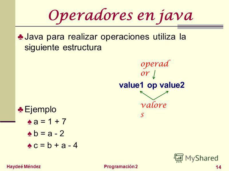 Haydeé MéndezProgramación 2 14 Operadores en java Java para realizar operaciones utiliza la siguiente estructura value1 op value2 Ejemplo a = 1 + 7 b = a - 2 c = b + a - 4 valore s operad or