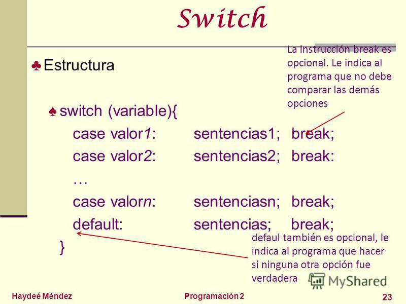 Haydeé MéndezProgramación 2 23 Switch Estructura switch (variable){ case valor1:sentencias1; break; case valor2:sentencias2; break: … case valorn:sentenciasn; break; default:sentencias; break; } La instrucción break es opcional. Le indica al programa