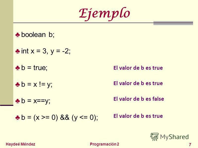 Haydeé MéndezProgramación 2 7 Ejemplo boolean b; int x = 3, y = -2; b = true; b = x != y; b = x==y; b = (x >= 0) && (y <= 0); El valor de b es true El valor de b es false El valor de b es true