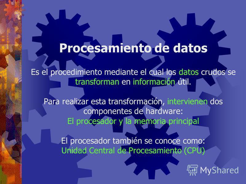 Clasificación del Hardware Cada pieza de hardware, forma parte de una de cinco categorías: Dispositivos de almacenamiento secundario
