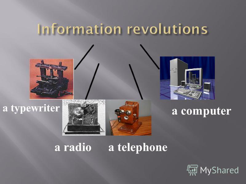 a typewriter a radioa telephone a computer