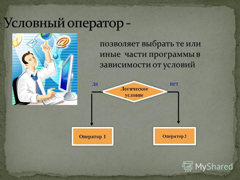 позволяет выбрать те или иные части программы в зависимости от условий Оператор 1 Оператор 2 Логическое условие Логическое условие да-нет