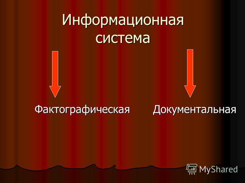Информационная система Фактографическая Документальная