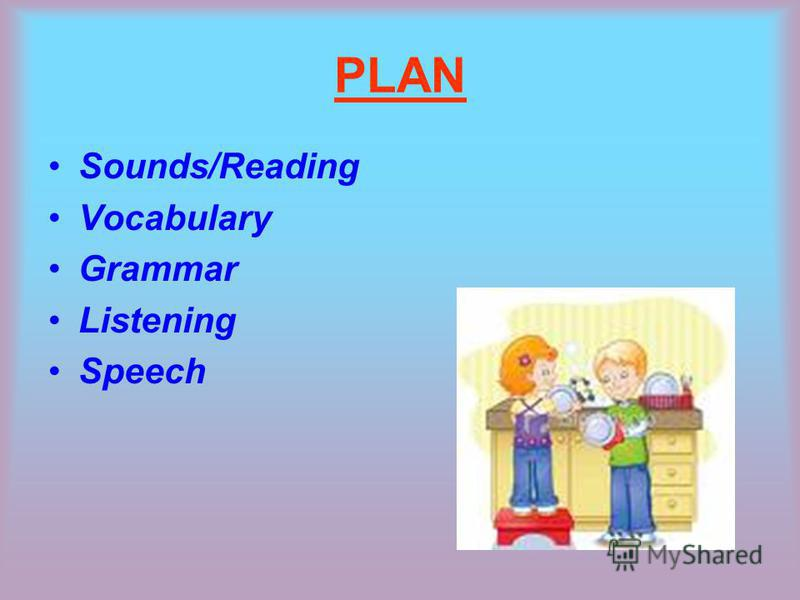 PLAN Sounds/Reading Vocabulary Grammar Listening Speech