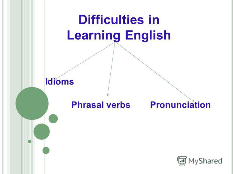 Difficulties in Learning English Idioms Phrasal verbsPronunciation